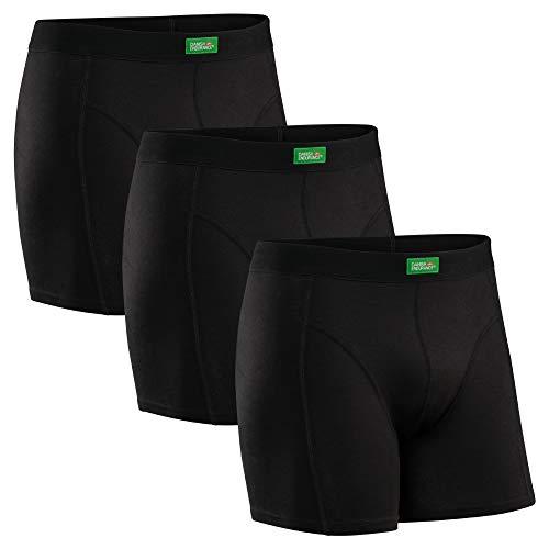 DANISH ENDURANCE Calzoncillos Bóxer de Algodón Orgánico Elástico para Hombres, Boxershorts, Multipack, sin Etiqueta, Elásticos, Ultrasuaves, Pretina cómoda, Paquete de 3 (Negro, XXX-Large)