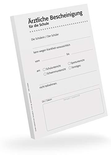 Schulbescheinigung für Ärzte, 5 Blöcke, je 50 Blatt, A6, für Ihren Praxisdrucker oder zur Handbeschriftung