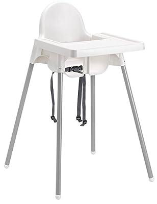 trona para silla taburete antilop IKEA Blanco de mesa para niño niña con diseño de Niños de Resina y Metal para Casa restaurante cinturón de seguridad Superficie lisa y antiarañazos con Bandeja