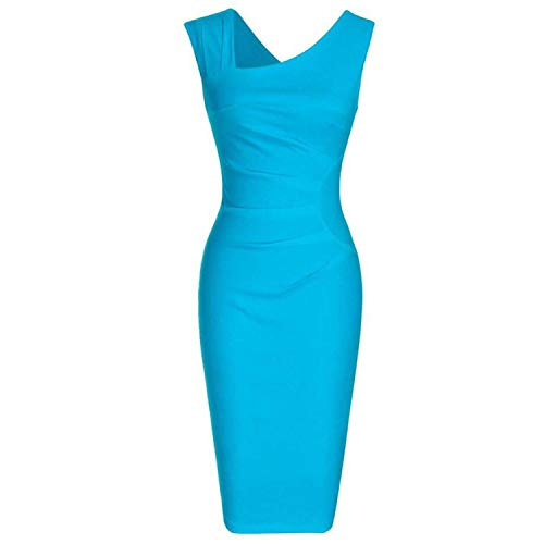 Vestido de verano para mujer, estilo retro, sin mangas, estilo clásico, color sólido, para cóctel, fiesta, bodycon,  Azul claro, Small