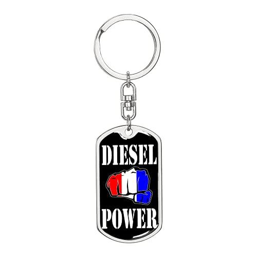 Diesel Power Llavero giratorio de acero inoxidable o oro de 18 quilates
