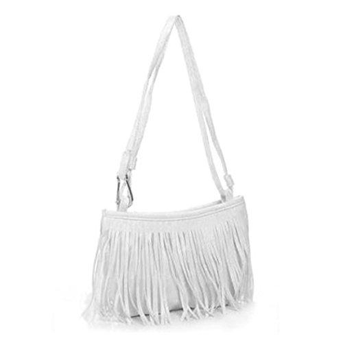 MIOIM® Damen Umhängetasche Schultertasche Troddel Tasche Fransen Damentasche Beutel Handtasche PULeder mit Reissverschluss (Weiß)