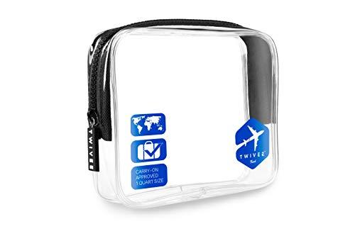TWIVEE - Kulturbeutel Transparent - 1 Liter - Handgepäck Flüssigkeiten - Blau - Unisex