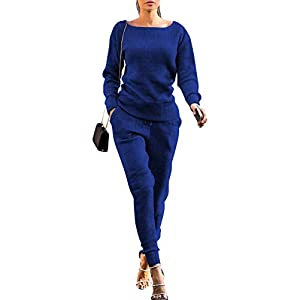 Women's Fall Rib-Knit Pullover Sweater Top & Long Pants Set 2 Piece Outfits Tracksuit