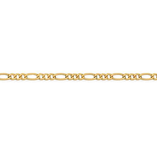 So Chic Bijoux /© Cha/îne de Cheville Femme 25 cm 9 carats Maille Figaro Altern/ée 1//3 Or Jaune 375//000 0,85gr