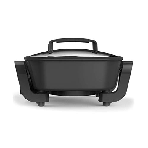 Multifunctionele Electric Hot Pot Barbecue Pot huishoudelijke elektrische Wok Hot Dish één stuk kleine elektrische Pot Electric Skillet Non-stick Pot 3.7l ZHANGKANG (Color : Black)