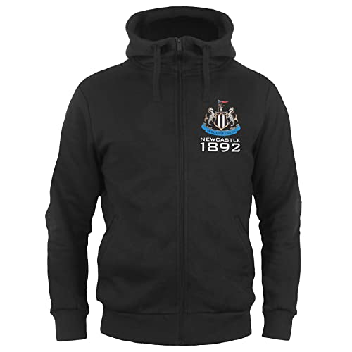 Newcastle United FC Official Football Gift Mens Fleece Zip Hoody Black Large