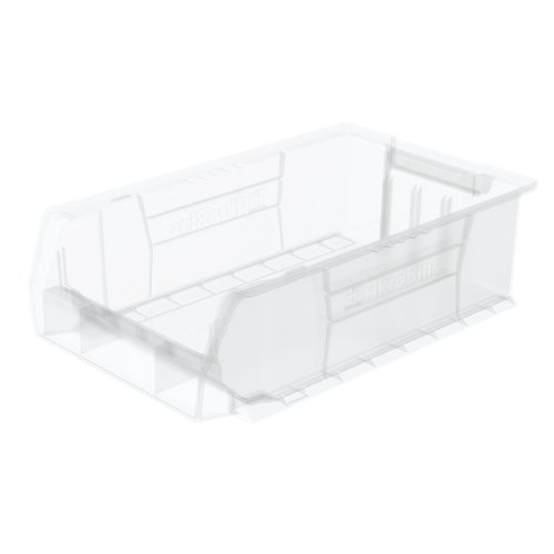 Akro-Mils 30280 Super-Size AkroBin Heavy Duty Stackable Storage Bin Plastic Container 20-Inch L x 12-Inch W x 6-Inch H Clear 4-Pack