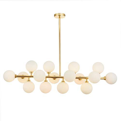 HUIRUI Gold Pendelleuchte Sputnik Hängelampe Kronleuchter Deckenleuchte, Magische Bohnen Glas Lampe Schatten Helle Decke Beleuchtung,Gebürstet Messing,16 Light