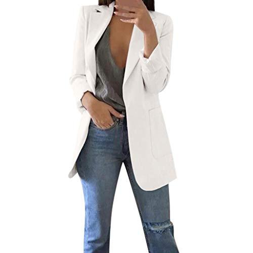 Trajes Mujer Invierno Otoño 2019 SHOBDW Liquidación Venta Abrigos Mujer Elegantes Color Sólido Chaqueta Mujer Solapa Cardigan Mujer Largos Rebajas Casual Blazers Mujer Talla Grande(Blanco,4XL)