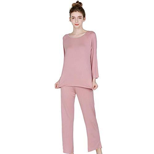 YZY Conjunto De Pijama Suave para Mujer, Ropa De Dormir para Mujer, Conjuntos De Pijama De Dos Piezas, Blusas Y Pantalones De Manga Larga, Ropa De Dormir(Color:Rosado,Size:2XL)