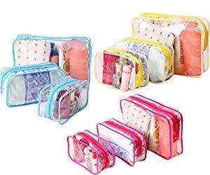 Lot de 9 trousses de toilette MineSpace de voyage - Trousse à maquillage transparente portable - Organisateur cosmétique à glissière - Rose, turquoise et violet