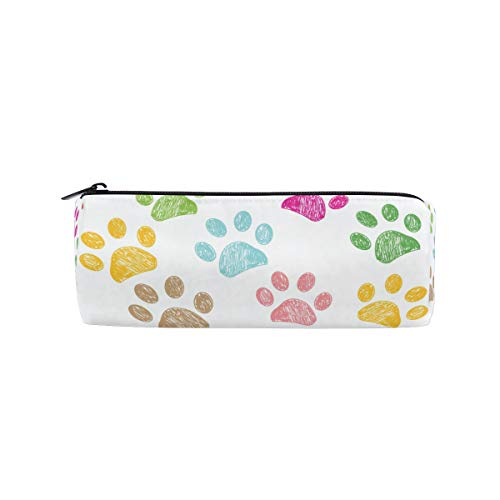 HousingMart Pencil Bag Colorful Animal Paw Print Pencil Case Zipper Cosmetic Makeup Bag Pencil Holder for Boys Girls School Work Office