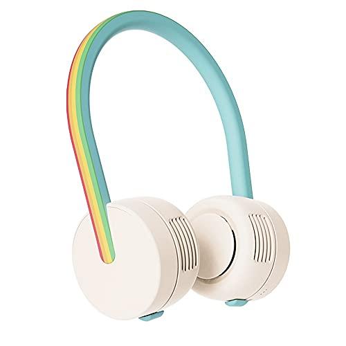 Ventilador Cuello Ventilador Portatil USB Recargable Mini Ventilador De Manos Libres 3 Velocidades Rotación Libre De 360°luz Led para Viajes Interior Exterior (Style : Rainbow)