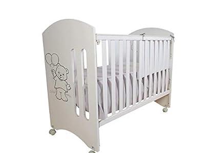 Cuna para bebé, modelo Oso Dormilón + Colchón Viscoelástica + edredón y chichonera Beig (caja musical de regalo)