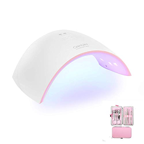 Ceenwes Nail Dryer 24W UV Light Nail Lamp With 30S/60S Timer Setting Curing All Gels Professional LED Nail Lamp Portable Nail Polish Dryer with Automatic Sensor for Fingernail & Toenail Gels Based