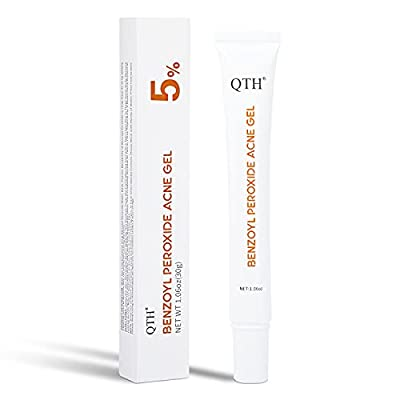 QTH 5% Benzoyl Peroxide Acne Gel for Face and Body, Pimple Acne Spot Treatment, Emergency Blemish Relief Pimples and Prevent Future Breakouts.1.06 oz