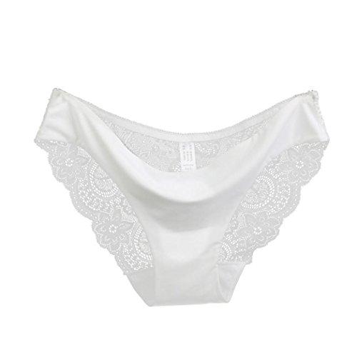 TONSEE Femmes été Dentelle Culotte Transparente Slip Coton Creux sous-vêtements (XL, Blanc)