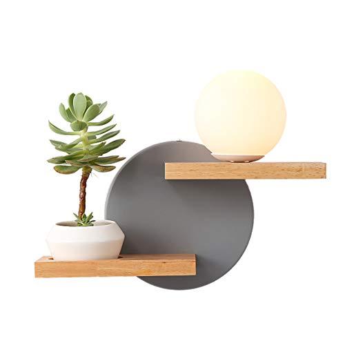 GENGJ Eisen Wandleuchte Nordic Regal Holzdekoration Schlafzimmer Studie Wandleuchte Nacht Kreative Lesung,Grau
