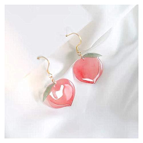 ZCPCS Nuevos Pendientes de Gota de melocotón Rosa de acrílico Coreano para Las Mujeres niñas Linda joyería Dulce Regalo de la Moda Fruta (Metal Color : 1)