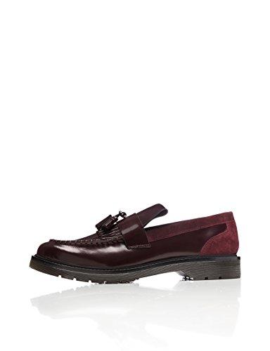 Amazon-Marke: find. Ainsley Tasselloafer Herren aus Lackleder mit breiter Sohle, Rot (Burgundy), 43 EU