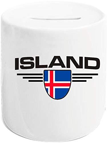 Shirtstown Taza de café, Islandia, Escudo, país, país, Taza de café, Taza de té, con Logotipo, fútbol, Club, Deporte, cerámica, Hucha.
