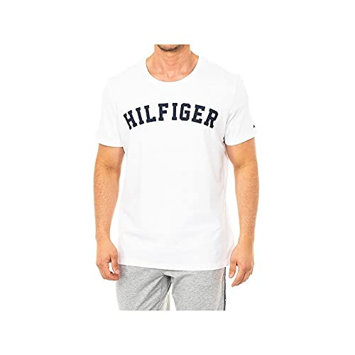 Tommy Hilfiger SS TEE LOGO, Top de pijama Hombre, Blanco (White 100), Large