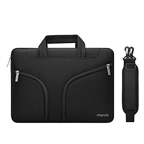 MOSISO Laptop Shoulder Messenger Bag Compatible with MacBook Pro/Air 13 inch, 13-13.3 inch Notebook Computer, Polyester Briefcase Sleeve Case with Double Front Arc Pockets & Back Trolley Belt, Black
