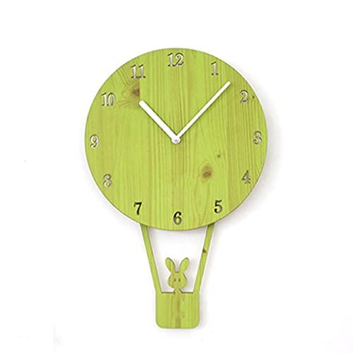 GZQDX Relojes de Pared para habitación de niños Relojes de Globos únicos para el hogar Sala de Estar Decoración de Bar Regalos para niños Relojes de Pared (Color : Green)