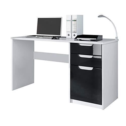 Vladon Schreibtisch Computertisch Büromöbel Logan, Korpus in Weiß matt/Fronten in Schwarz Hochglanz