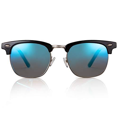 GreenTreen Gafas de sol, medio marco, clásico, retro, de metal, para hombres y mujeres, gafas de sol polarizadas, UV400 (azul)