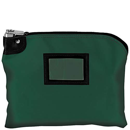 BankSuppliesLaminated Nylon Locking Deposit Bags | Forest Green | 15W x 11H | Locking Courier Security Bank Cash Bag |Heavy-Duty Construction | Stores Coin, Currency, Checks & Documents