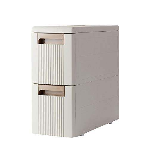 Boby 4 Storage Drawer Rolling Cart Organizer Plastic Unit on Wheels Narrow Slim Container Cabinet for Bathroom 17.7 x 7 x 31.5 Inches