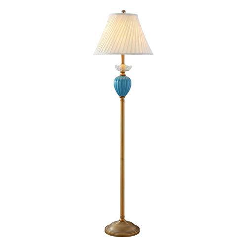 Lámpara de Pie Shade Lámpara de pie moderna cobre antiguo iluminación azul Cerámica y Doble Tambor Lámpara de pie Lámpara de lectura vertical for Office Habitación Sala de lectura Iluminación Interior