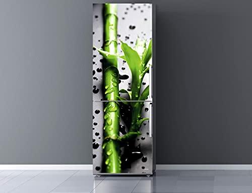 Pegatinas Vinilo para Frigorífico Rama bambú Gotas Agua | Varias Medidas 185 x 70 cm | Adhesivo Resistente y de Fácil Aplicación | Pegatina Adhesiva Decorativa de Diseño Elegante