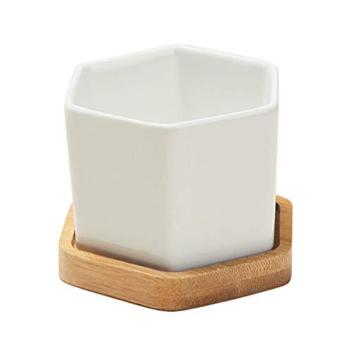 Mryishao Pot de Fleurs Maison Petit Plastique Blanc Hexagonal Succulent Containers Plant Pot Cactus Planter Pot Pot avec Bamboo Tray