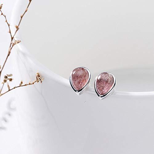 ESCYQ DamenOhrringeOhrsteckerOhrhängerTropfenOhrlinie,S 925 Sterling Silber Natürliche Erdbeere Crystal Pulver Crystal Tropfenförmige Ohrringe Einfach Wild Frisches Ohr Schmuck Zum Geschenk
