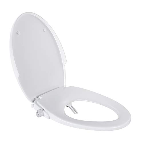 Bidet Toilet Seat, Dalmo Non-Electric Bidet Seat for Elongated Toilets, White Quiet-Close Toilet Seat with Dual Nozzles(Rear/Feminine Wash), Metal Inlet Pipe & T-Adapter, Adjustable Spray - DBTS05BJ