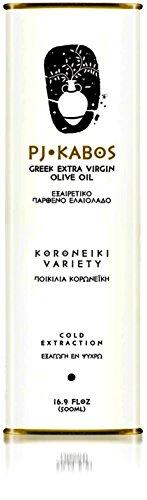 2020 GOLD Award Winning PJ KABOS 16.9Floz Greek Extra Virgin Olive Oil | 100 Percent Olive Oil Born in Ancient Olympia Vicinity | From Greece | KORONEIKI Variety | Acidity 0.17%