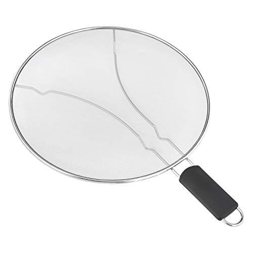 AmazonCommercial Edelstahl-Spritzschutz, feines Netz, für Pfannen, mit Kunststoffgriff, 33 cm