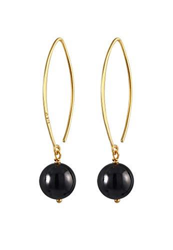 Pendientes de mujer chapados en oro, pendientes largos con bolas de ónix negro (8 mm), juego de pendientes de plata de ley 925, pendientes dorados para mujer, 0307773020