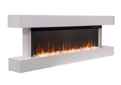 55 INCH DIGITAL FLAMES Designer Black White 1600KW Mantel Wall Mounted Electric FIRE 3 Sided Glass New 2020