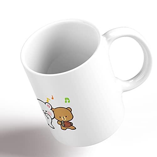 Mocha Cute Milk Teddy Bears Cuddly Gif Lovely Best Mug holds hand 11oz made from marble ceramic