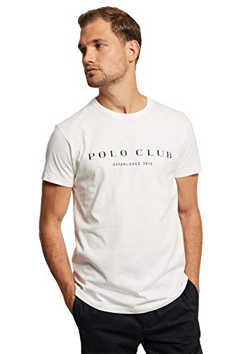 Camiseta Blanca con estampación de Manga Corta para Hombre - Diseño Established Title