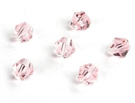 Lotto da 100 perline Trottola bicono, in cristallo di Boemia CZ vetro quarzo, colore: rosa/4 mm