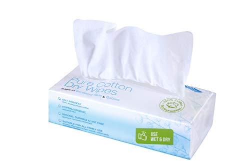 Ivyone - Toallitas Secas de Algodón, 100 Toallitas, Algodón Natural y Biodegradable para Pieles Sensibles, Toallitas para Bebés, Toallitas de Maquillaje y Paños Desechables