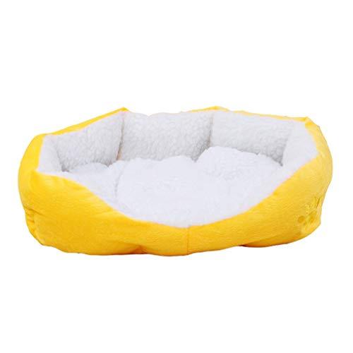 Cama de felpa para mascotas Cojín para gatos Colchoneta para dormir Caseta para perros Colchón Amarillo