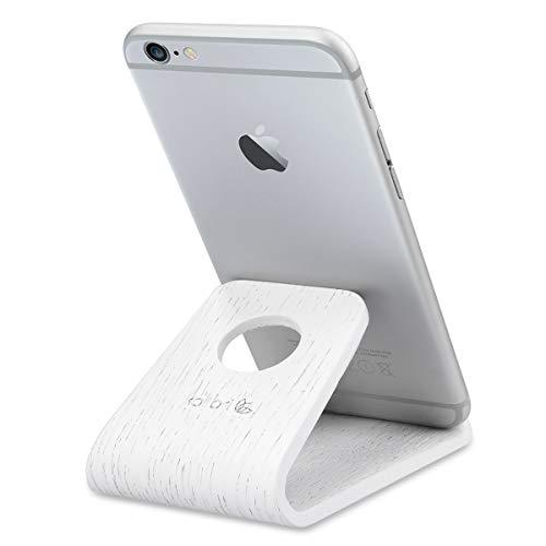 kalibri Soportede Madera paramóvil -SoporteUniversalpara Smartphone Tablet - Apoyo para iPhone Samsung Galaxy etc en Blanco