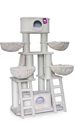 Petrebels Kratzbaum XXL Große Katzen Skyline 185 cm Beige speziell für Maine Coon und mehrere Katzen Kratzbaum Stabil de Luxe