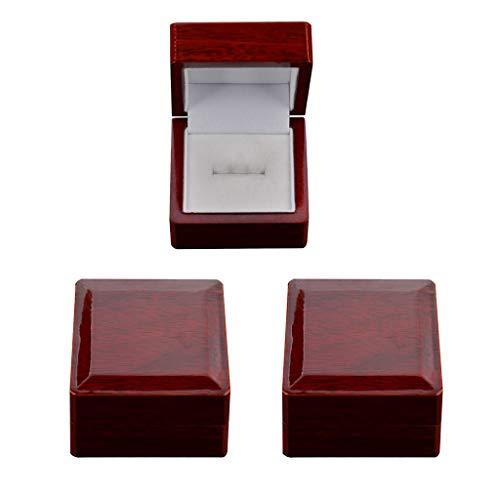 Bonarty 3 cajas de almacenamiento de madera de lujo para joyas de boda